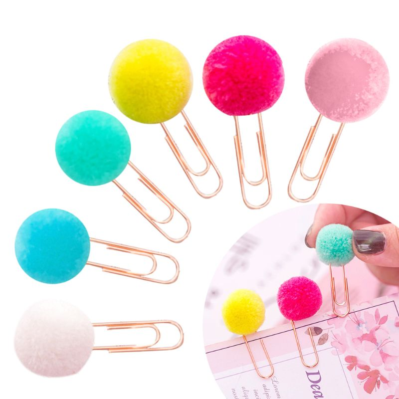 6 Pcs/Bag Colorful Plush Ball Paper Clips Bookmarkers Planner Journal Page Home School Office Supply