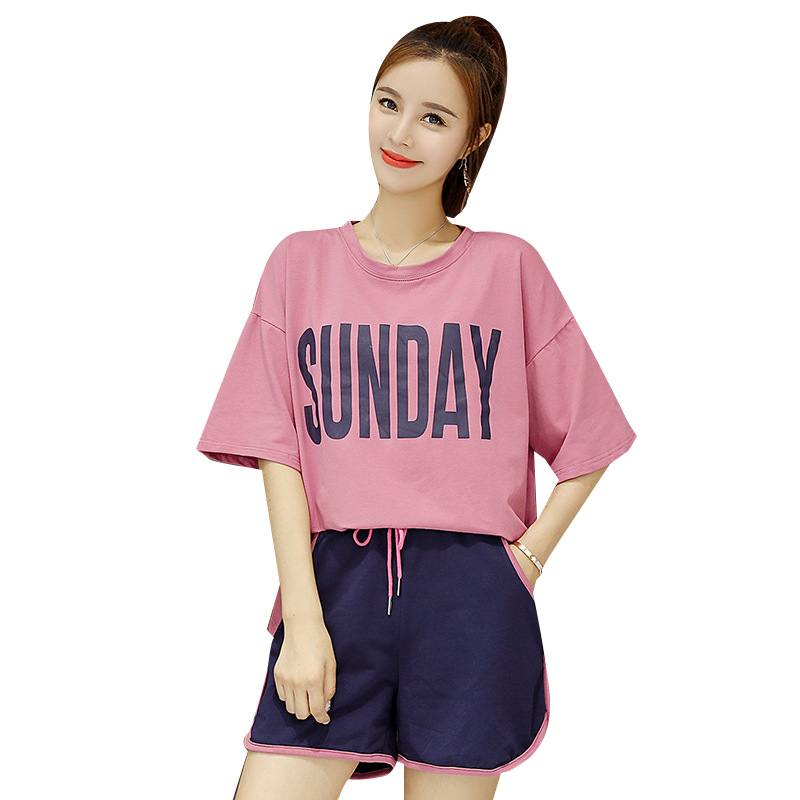 Plus Size Women Casual Set 2019 Summer Letter Short Tops And Short Pants Two Piece Sports Sets Femme Womens Casual Sets 2xl 3xl