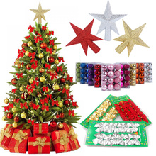 Merry Christmas Tree Decorations Ornaments Hanging Balls Bows Star Topper Navidad 2019 Noel Decor Kerst