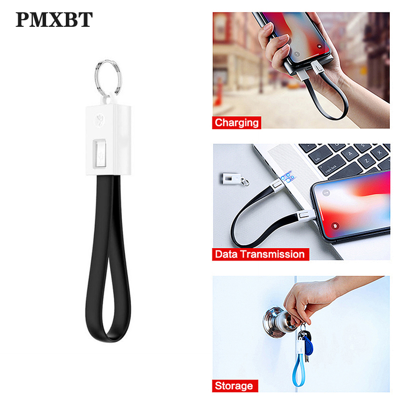 Keychain USB Cable For Samsung Xiaomi LG Huawei PowerBank Micro USB Type C Cables Mobile Phone Accessory Portable Charging Cord