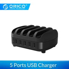ORICO 5 Port USB Charger Station Dock with Holder 40W 5V2.4A*5 Charging for iphone pad PC Kindle Tablet
