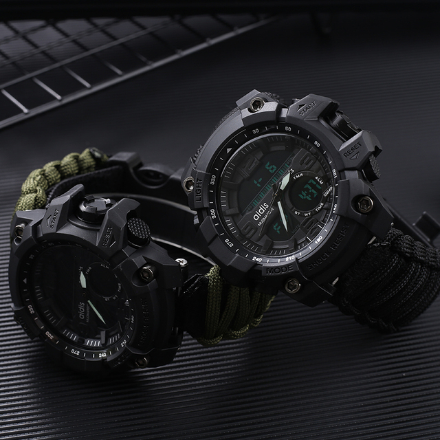 AIDIS Survive Outdoor Watch Emergency with Night Vision 30M Waterproof Paracord Knife Compass Whistles First Aid Kits G Style 5