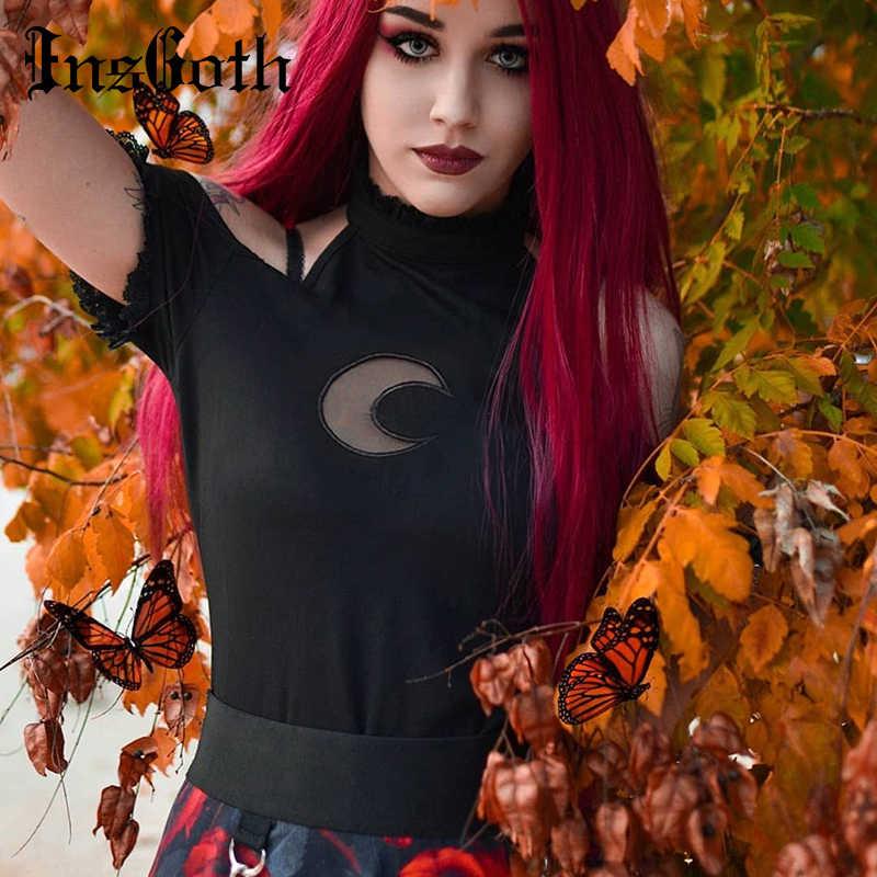 InsGoth Sexy fuera del hombro negro Halter camisetas mujeres gótico Punk Luna Hollow Out ceñido al cuerpo camisetas de algodón sin color