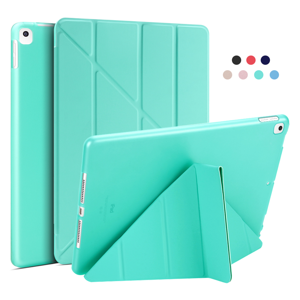 Mint Green Green For iPad 10 2 Case 2020 2019 PU Leather Multi Fold Stand Smart Cover For iPad