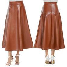 Falda larga de moda de mujer de Color sólido de imitación de cuero de alta cintura con cremallera