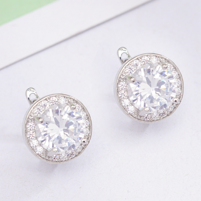 6 Colors Fashion Circle Earrings Round Cubic Zirconia Classic Hoop Earrings for Women OL Style Statement Earrings Wholesale 1