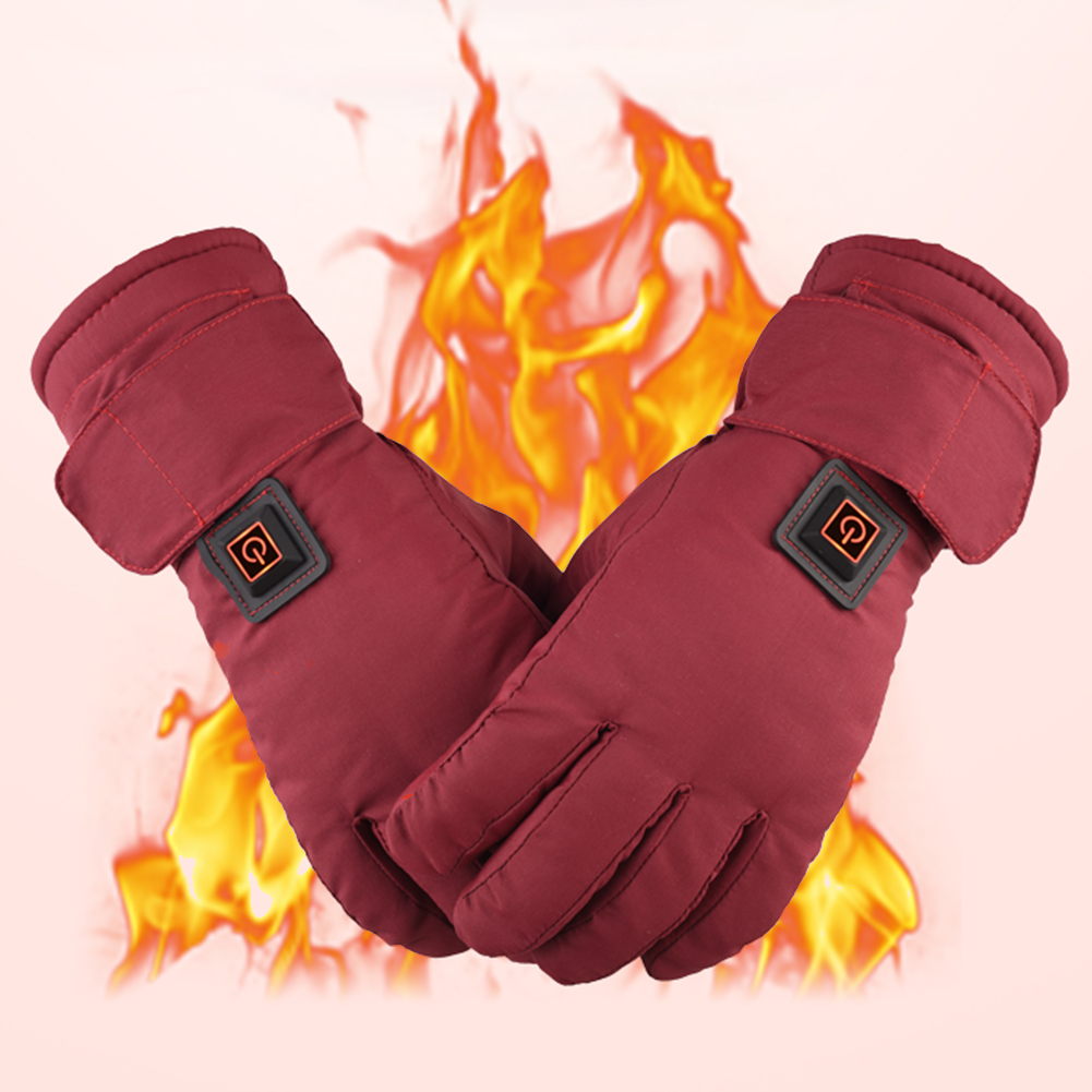 1 Pair Women Electric Heating Gloves Outdoor Adjustable Temperature Warm Anti Slip Waterproof Rechargeable Climbing Gloves