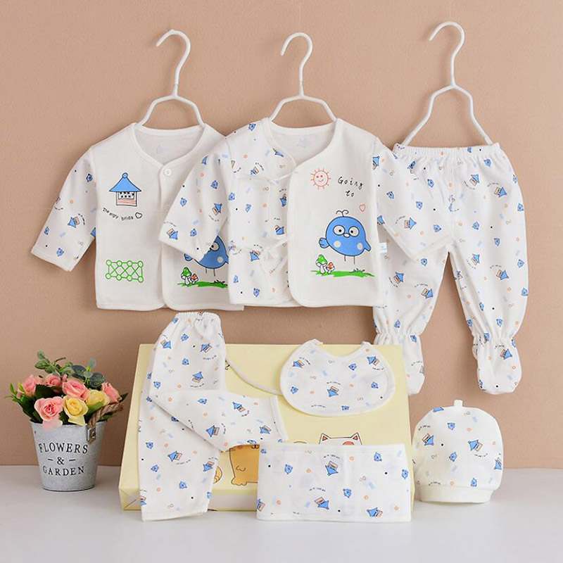 Girls Boys Newborn Cotton Set Baby Clothing Sets Toddler Cartoon Suit 7pcs/set Spring Summer Kids little girls clothes