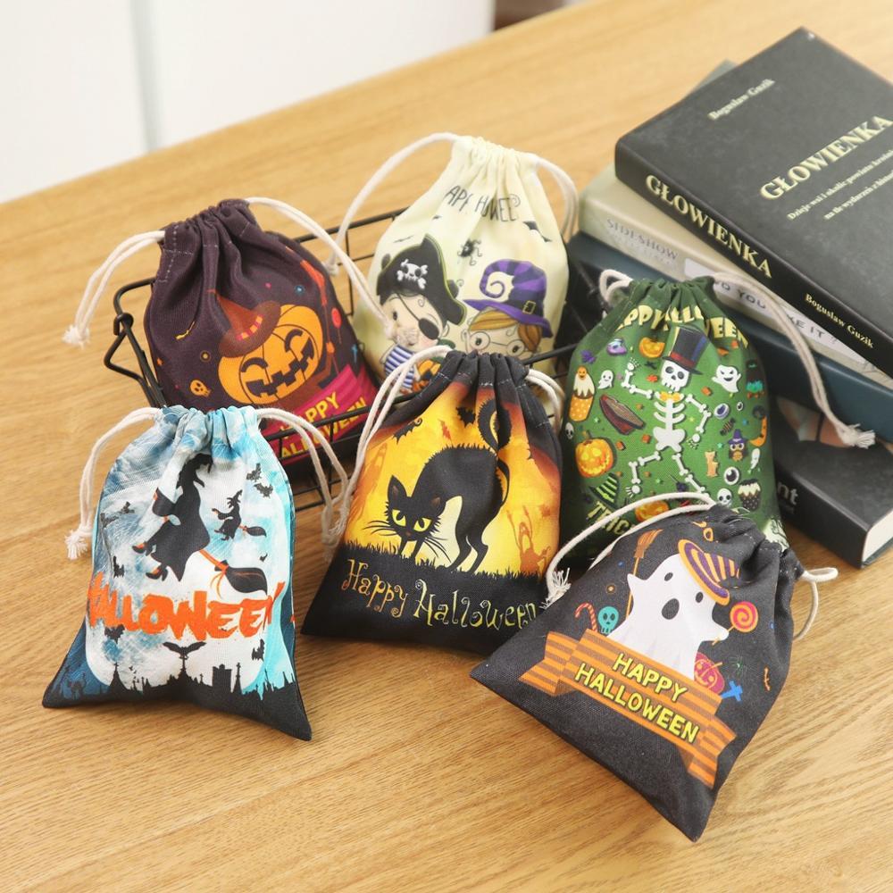 New Halloween Drawstring Bags Kids Candy Pumpkin Bag Sack Party Decoration Gift Canvas Handbag For Baby Kids Gift Bag