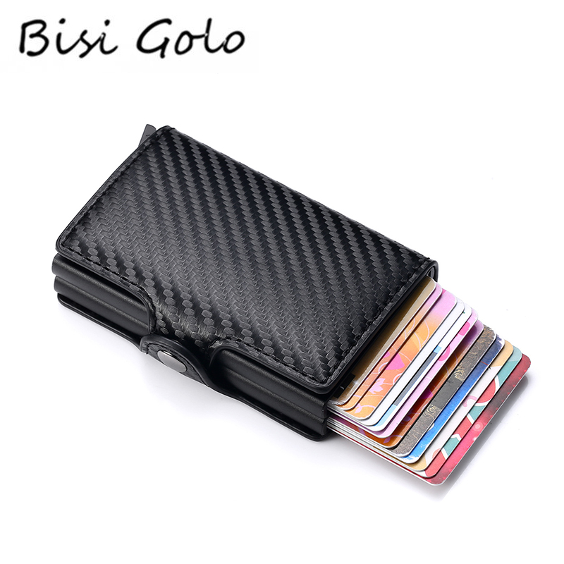 BISI GORO Smart Wallet Carbon Fiber Multifunctional Card Case Anti-theft PU Leather Aluminum Box RFID Double Boxes Card Holders
