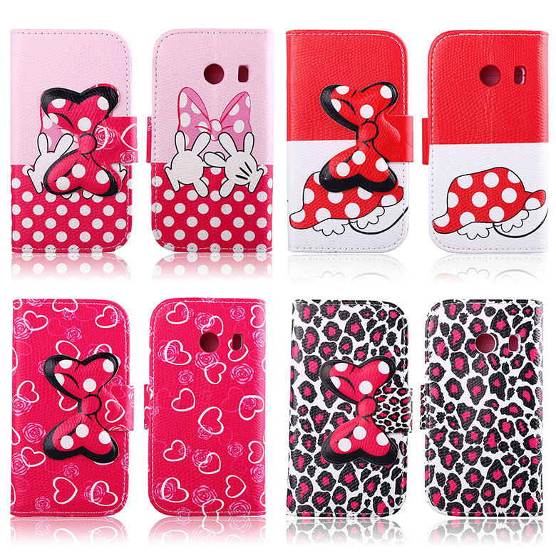 bow knot TPU Leather Maganetic buckle stand card slot Case for <font><b>Samsung</b></font> Galaxy <font><b>G310</b></font> protective cover skin image