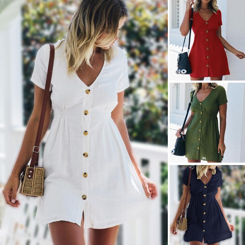 Women's Dress 2021 Spring/Summer Pure Color Single Row Buttons V Neck Dress Women Slim High Waist Casual Dress Vestido