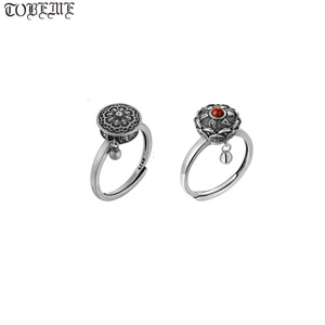 Image 1 - Handcrafted 100% 925 Silver Agate Tibetan Prayer Wheel Ring Buddhist OM Mantra Ring Good Luck Women Ring