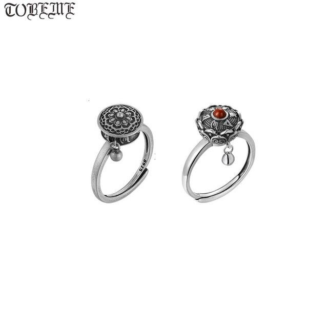 Handcrafted 100% 925 Silver Agate Tibetan Prayer Wheel Ring Buddhist OM Mantra Ring Good Luck Women Ring