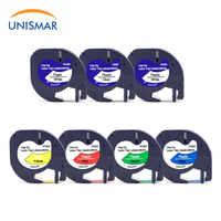 Unismar 7 pacote 91201 dymo letratag etiqueta fita cassete 12mm 91330 16952 91331 91332 compatível para dymo letratag lt-100h impressora