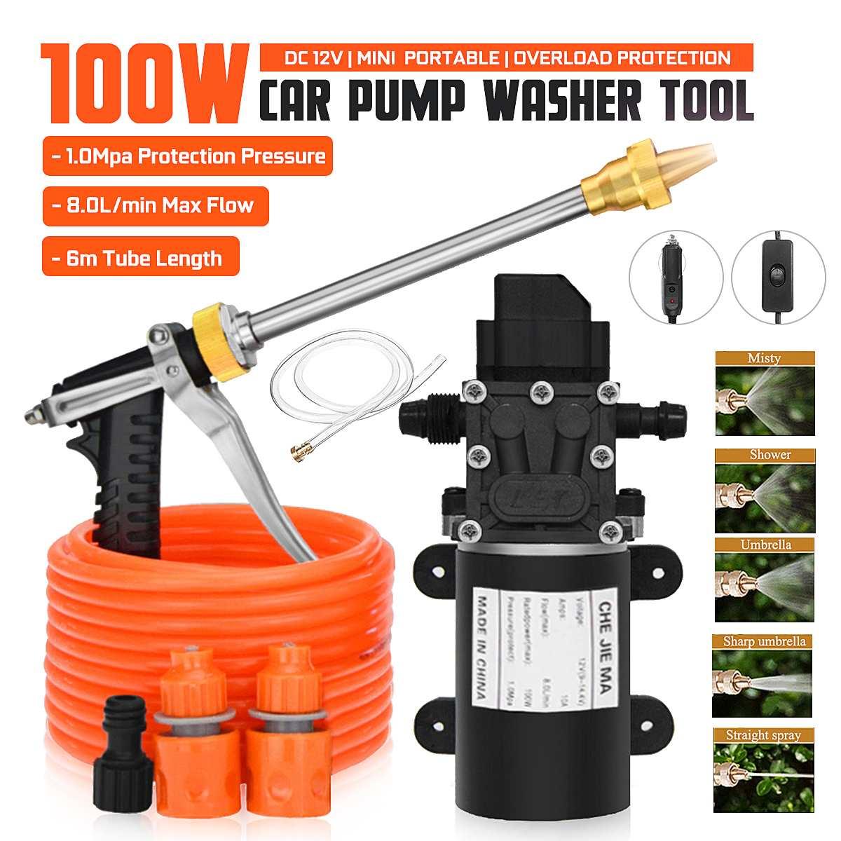 100W Household Car Wash Pump Portable High Pressure Electric Car Wash Washer 200PSI 12V Car Washer Washing Machine