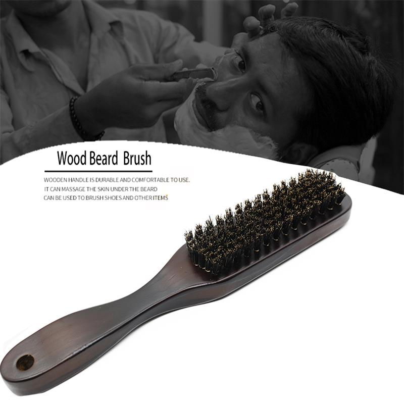 Wood Handle Boar Bristle Cleaning Brush Hairdressing Men Beard Brush Anti Static Barber Hair Styling Comb Shaving Tools