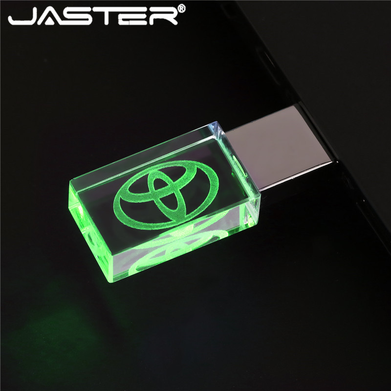 JASTER USB 2.0 Car Logo TOYOTA Crystal + Metal USB Flash Drive Pendrive 4GB 8GB 16GB 32GB 64GBC  Memory Stick Free Shipping