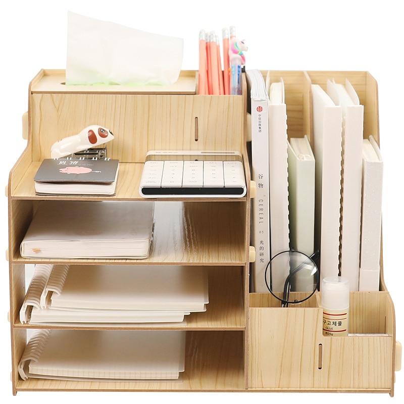 File Sorter 4 Tier Wooden File Document Organizer Document Sorter Tray Holder A4 File Rack with Pen Holder Desk Organizer