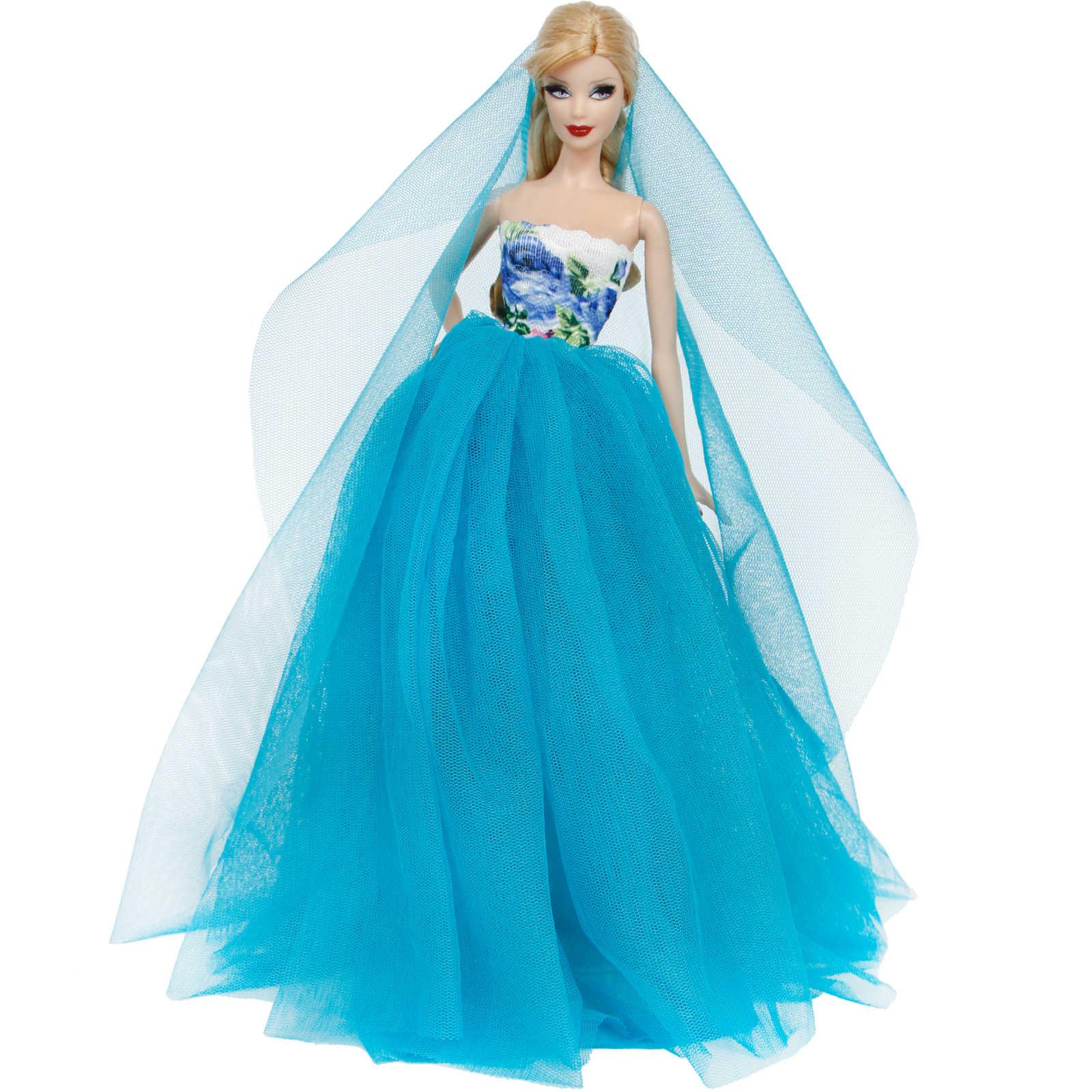 Vestido de casamento feito à mão princesa festa à noite bola vestido longo saia véu nupcial roupas para barbie boneca acessórios natal brinquedo diy