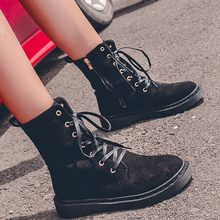Women's Zipper Motorcycle Boots Autumn Winter Mid-calf Lace Up Cool Causal Martin Boots Flat With Solid Color Ankle Punk Boots(China)