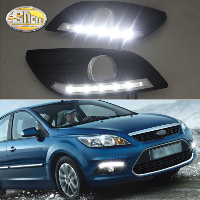 SNCN LED Daytime Running Light For <font><b>Ford</b></font> <font><b>Focus</b></font> 2 MK2 2009 <font><b>2010</b></font> 2011 Auto Dimming Relay Waterproof 12V DRL Fog Lamp Decoration image
