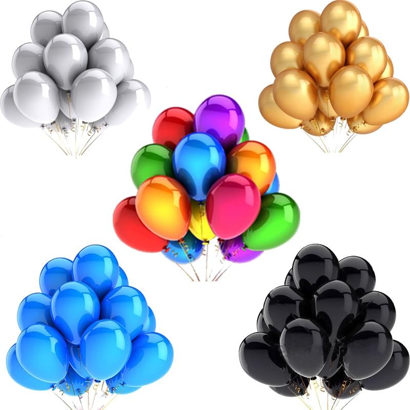 10/20/30pcs 12inch Gold Sliver Black Latex Balloons Mixed Metallic Confetti Helium Wedding  Birthday Party Decorations Kid's Toy