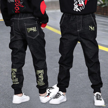 Casual Big Boys Jeans Pants Autumn Washing Black Denim Trousers Kids Cartoon Long Pant Children Clothing 4 8 12 13Years New 2020