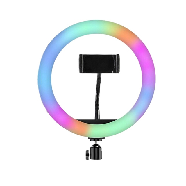 33cm RGB Ring Light with Phone Clip Dimmable Selfie Light Portable Makeup Lamp LED Desk Fill Light for Smartphone