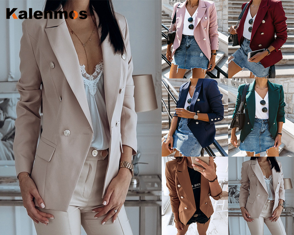 Candy Color Medium Long Suit Jacket Women Autumn Double Breasted Notched Office Lady Solid Blazer Feminino Feminine Casual Coat