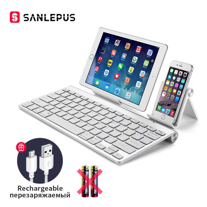 Clavier d'ordinateur sans fil Ultra-mince Bluetooth SANLEPUS Mini pour téléphone tablette ordinateur portable iPad iPhone Samsung IOS Android