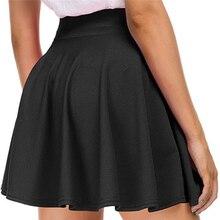 Summer Ladies Pleated Skirt Casual High Waist A Line Solid Color Mini Skirt Female Fashion Skirt