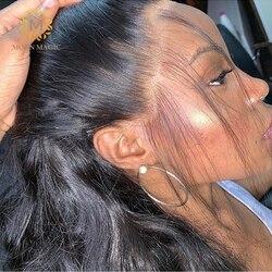 HD прозрачный кружевной передний парик, 360 прозрачных кружевных париков, полный бесклеевой фронтальный парик из человеческих волос, полный к...