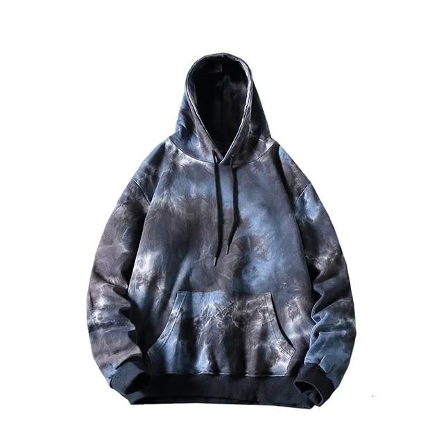 Hoodies Men Fashion Tie Dye Print Casual Cotton Hooded Pullover Man Streetwear Joker Hip Hop Loose Sweatshirt Male Hoodie M-5XL