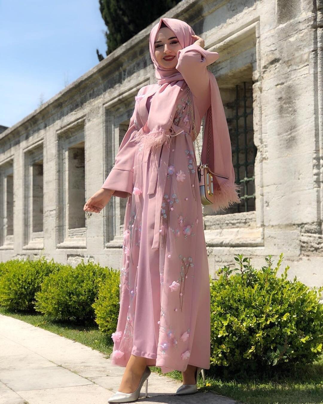 Elegant Women Lace Long Dress Muslim Ramadan Embroidery Kaftan Gown Arab Abaya