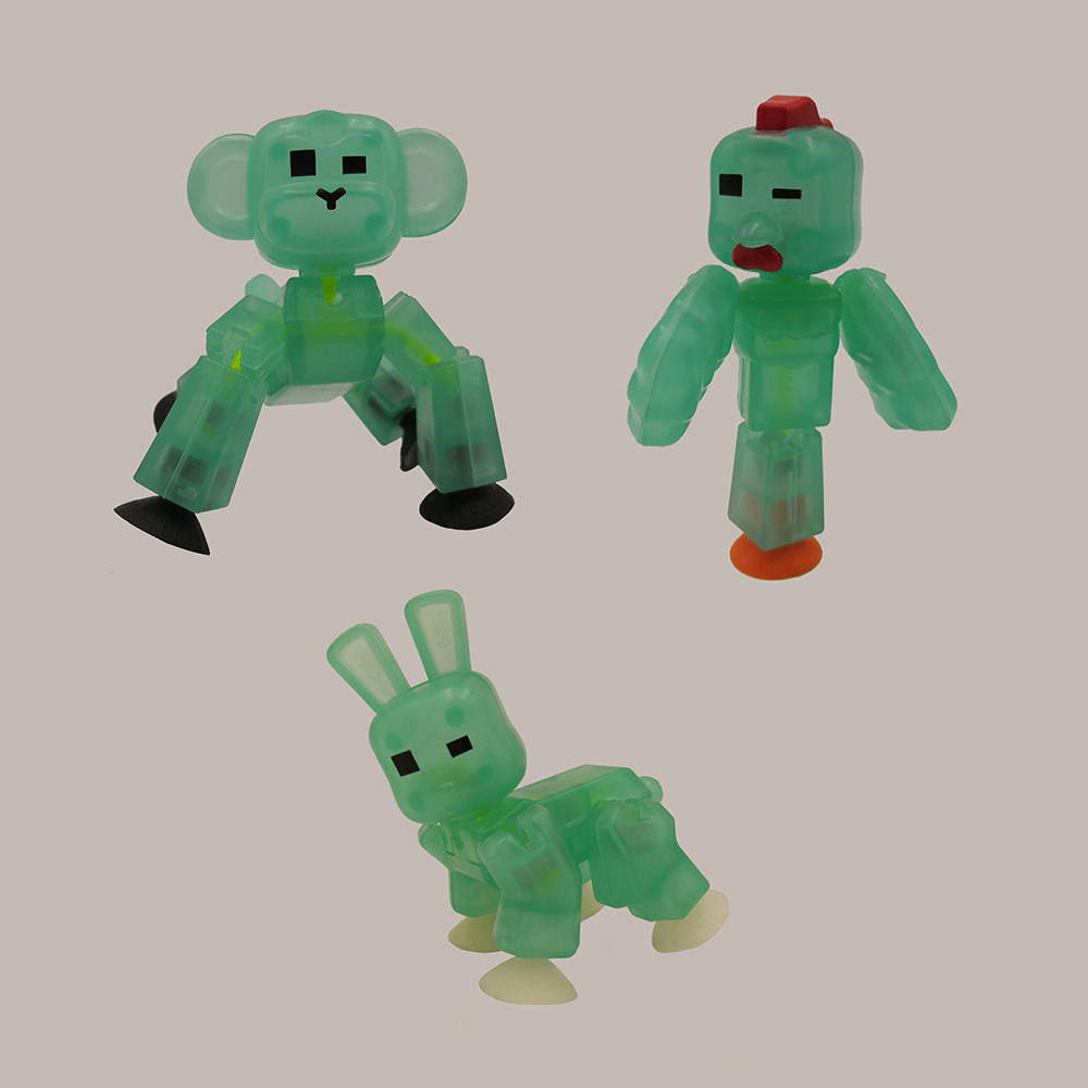 Random Glow In The Dark Toys Color Stikbot Animal Robot Toys Shed Dolls With Sucker DIY Creat Animation Film StikBot Toys