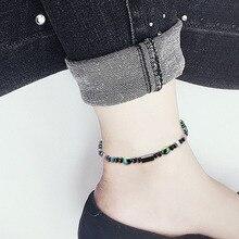 NJ Woman Man Nature Stone Beaded Anklets Bracelets Ankle Fashion Women Beach Barefoot Sandals Jewelry