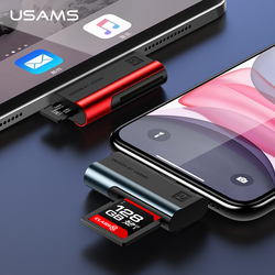 Usams adaptador para iphone xs tf leitor de cartão otg adaptador para ios 13 12 11 suporte 256g para iphone 11 pro max x 8 7 6s 5 para ipad