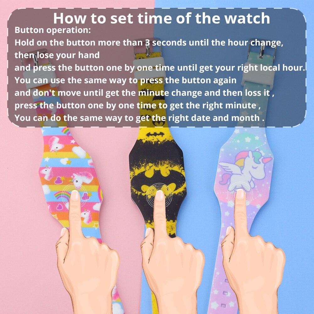 2020 светящиеся дети часы девочки мультфильм узор светодиод мальчики часы силикон ремешок Reloj Infantil наручные часы