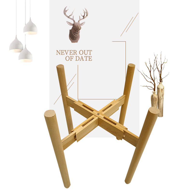 Adjustable Stand Holder Rack Wooden Sturdy For Flower Potted Indoor Outdoor QP2