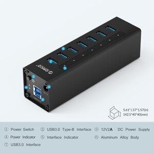 Image 5 - ORICO 7 Cổng USB 3.0 Hỗ Trợ BC1.2 Sạc Với Nguồn 12V Nhôm Bộ Chia USB Cho Phụ Kiện Macbook máy Tính Để Bàn OTG