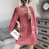 Pink Outfits Matching Set Women Autumn Two Piece Sets Ladies Vintage Dress Jacket Suit Fashion Slim Knit Vest Dress 2 Piece Suit