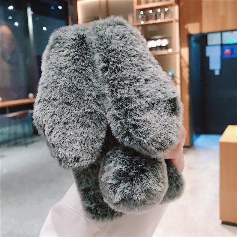 3D Rabbit Ears Fur Plush Case For Samsung Galaxy M20 M10 A9 A8 Star A6 A8 J4 J6 J4+ J6+ A8+ Plus J8 A7 2018 Diamond Warm Case