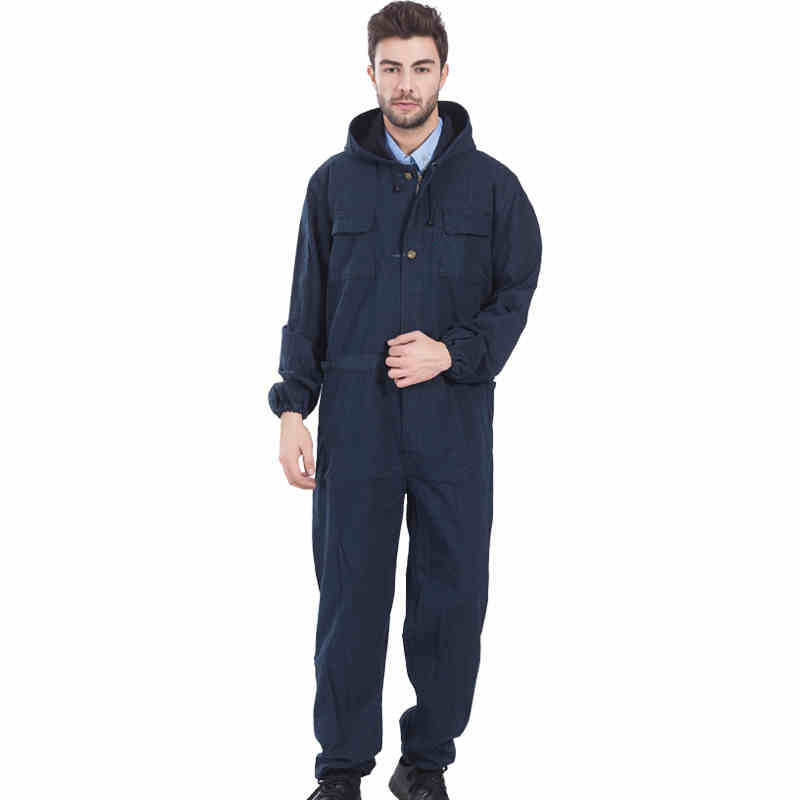 Men Work Clothing Long Sleeve Large Size Denim Overalls High Quality Hooded Dust-proof Welding Auto Repair Protective Coveralls