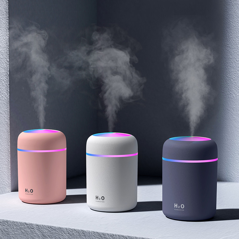 300ML White Mini Air Humidifer Aroma Essential Oil Diffuser With Romantic Lamp USB Mist Maker Aromatherapy Humidifiers For Home