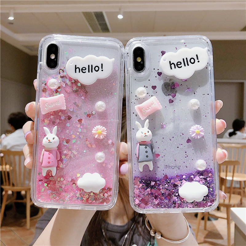xiaomi Redmi Note 9 9s 8 7 6 5 Pro 8t 8A 7A cartoon dynamic quicksand liquid phone case k30 k20 Pro flash powder case