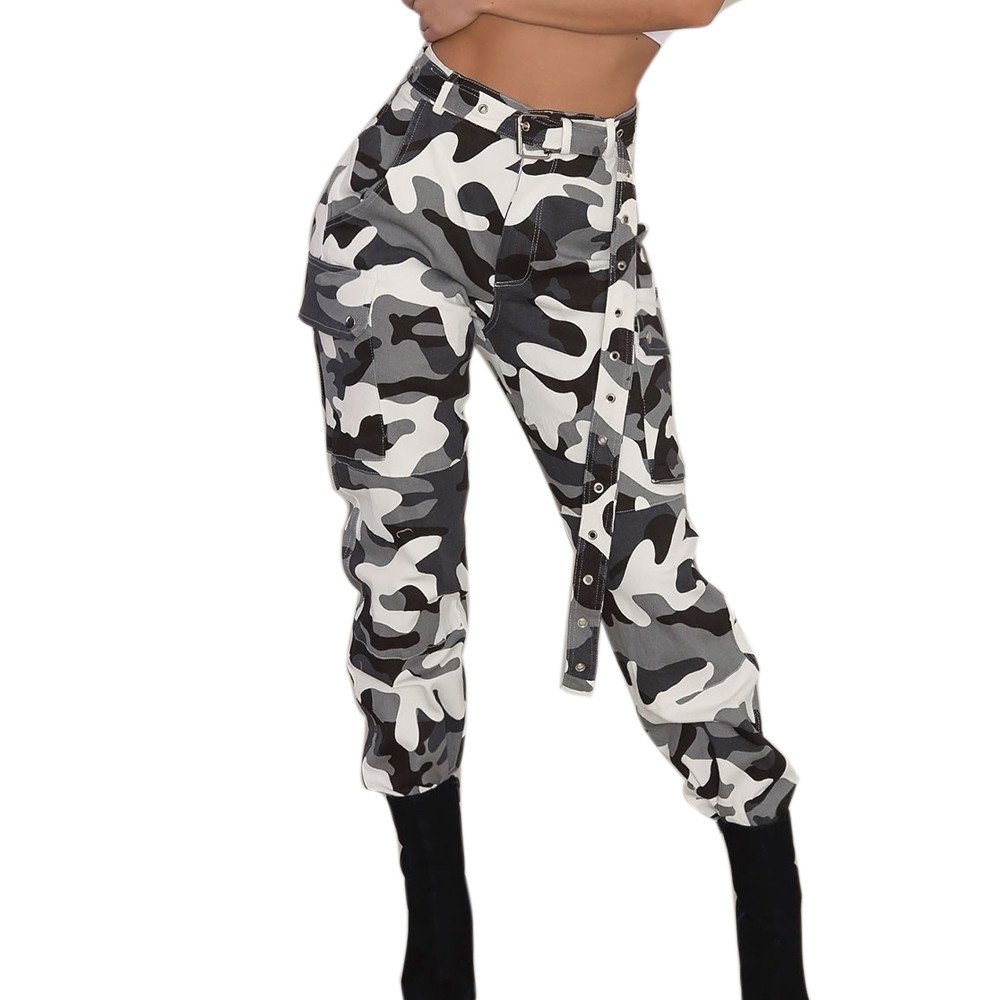 New Women Camo Cargo High Waist Hip Hop Trousers   Pants   Military Army Combat Camouflage Long   Pants   Hot   Capris   #YL10