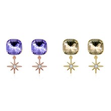 earrings  Purple Crystal Romantic New S925 Sterling Silver Stud Earrings Nice Star Drop sterling silver