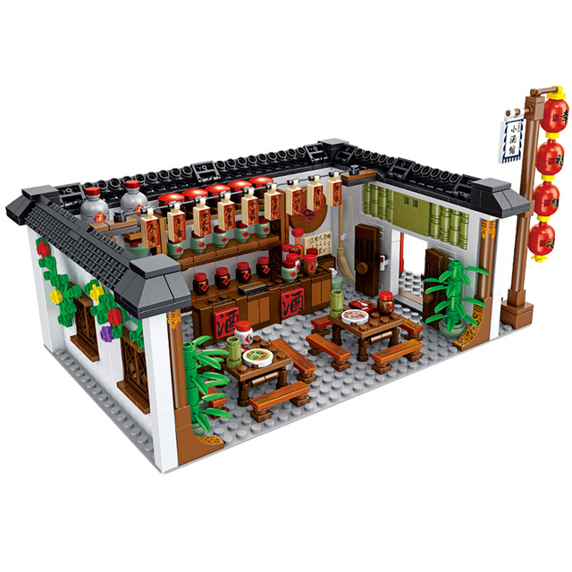 1005pcs Happiness Station Courtyard House Architecture Building Blocks  City Street View Tavern Bricks Toys for Children