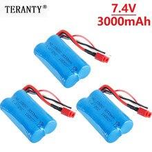 7.4v 3000mah lipo bateria 18650 2s t plug para q46 wltoys 10428 /12428/12423 rc carro acessórios de reposição 7.4v bateria de alta capacidade